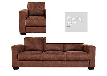 Dante Fabric 3 Seater Sofa, Armchair and Footstool in Bfa-Bllj05 Hazelnut on FV