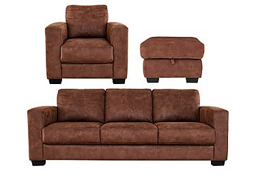 Dante Fabric 3 Seater Sofa, Armchair and Footstool