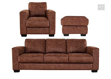 Dante Fabric 3 Seater Sofa, Armchair and Footstool  in {$variationvalue}  on FV
