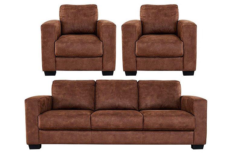 Furniture Village Dante dante 3 seater fabric sofa & 2 armchairs - furniture village