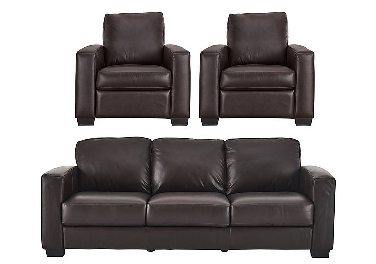 Dante 3 Leather Seater Sofa & 2 Armchairs