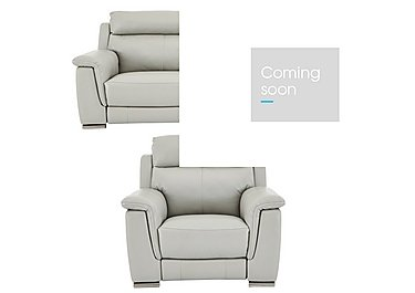 Glider Leather 3 Seater Sofa & Power Recliner Armchair in An-041e Oyster Grey on FV