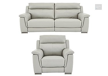 Glider Leather 3 Seater Sofa & Power Recliner Armchair  in {$variationvalue}  on FV