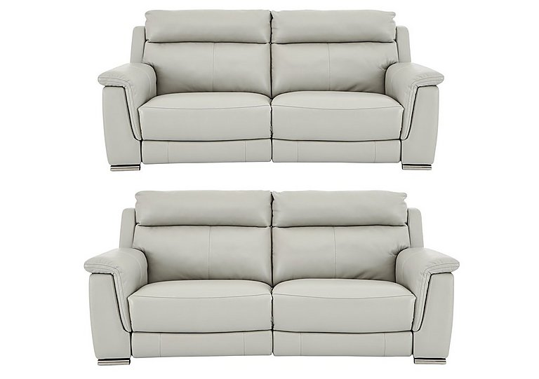 Glider Pair of 2 Seater Leather Power Recliner Sofas in An-041e Oyster Grey on FV