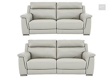 Glider Pair of 2 Seater Leather Power Recliner Sofas  in {$variationvalue}  on FV