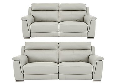 Glider 3 & 2 Seater Leather Power Recliner Sofas in An-041e Oyster Grey on FV
