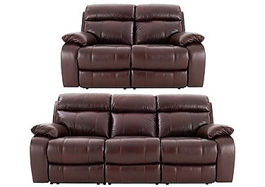 Moreno 3 & 2 Seater Leather Power Recliner Sofas in An751b Burgandy on FV