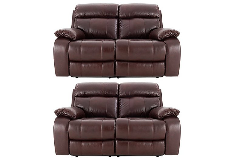 Moreno Pair of 2 Seater Leather Power Recliner Sofas