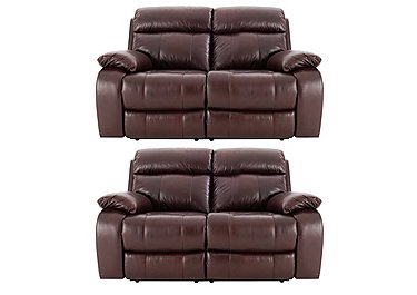 Moreno Pair of 2 Seater Leather Power Recliner Sofas in An751b Burgandy on FV