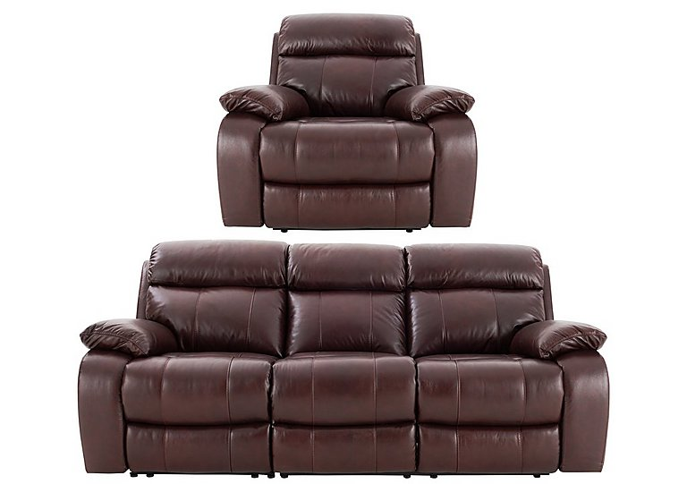 Moreno 3 Seater Leather Power Recliner Sofa & Armchair