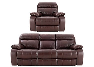 Moreno 3 Seater Leather Power Recliner Sofa & Armchair in An751b Burgandy on FV