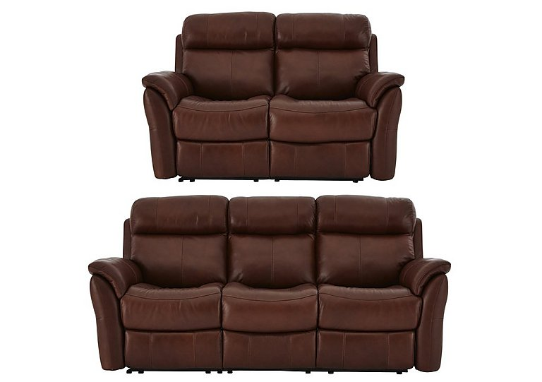 Relax Station Revive Leather 3 & 2 Seater Power Recliner Sofa
