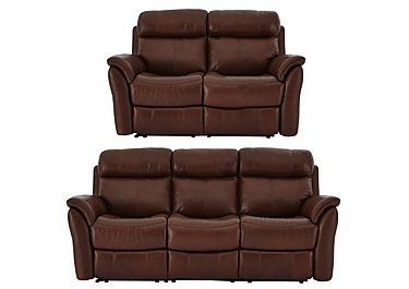 Relax Station Revive Leather 3 & 2 Seater Power Recliner Sofa in Sk297e Cumin on FV
