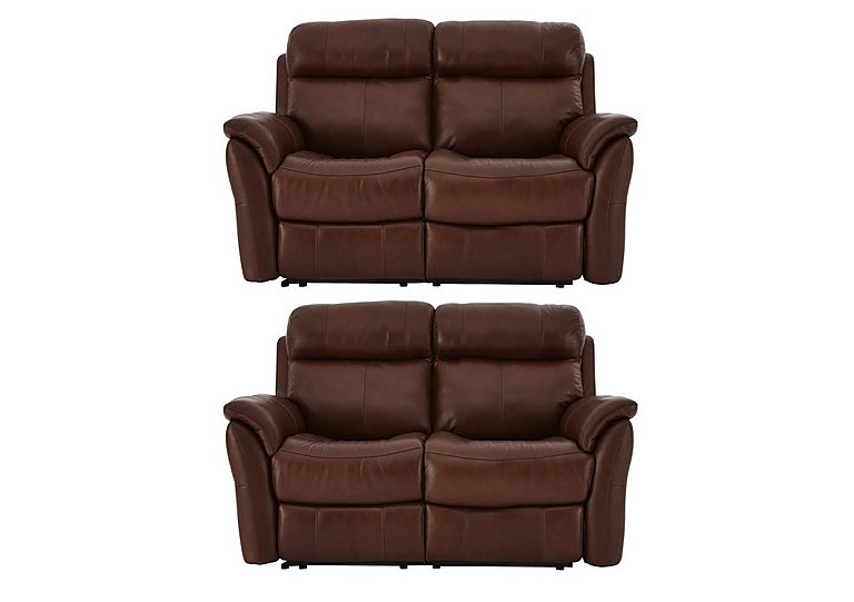 Relax Station Revive Pair of 2 Seater Leather Power Recliner Sofas in Sk297e Cumin on FV
