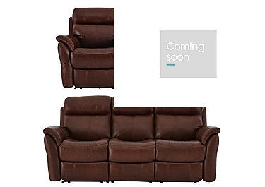 Relax Station Revive 3 Seater Leather Power Recliner Sofa with Armchair and Footstool in Sk297e Cumin on FV