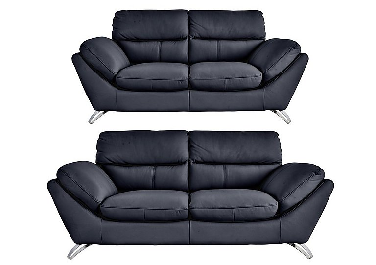 Salvador 3 & 2 Seater Leather Sofas in 200-37 Atlantic-Heather on FV