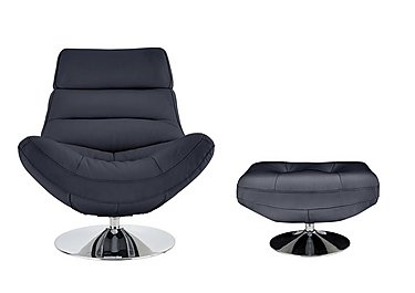 Salvador Leather Swivel Armchair & Footstool in 200-37 Atlantic-Heather on FV