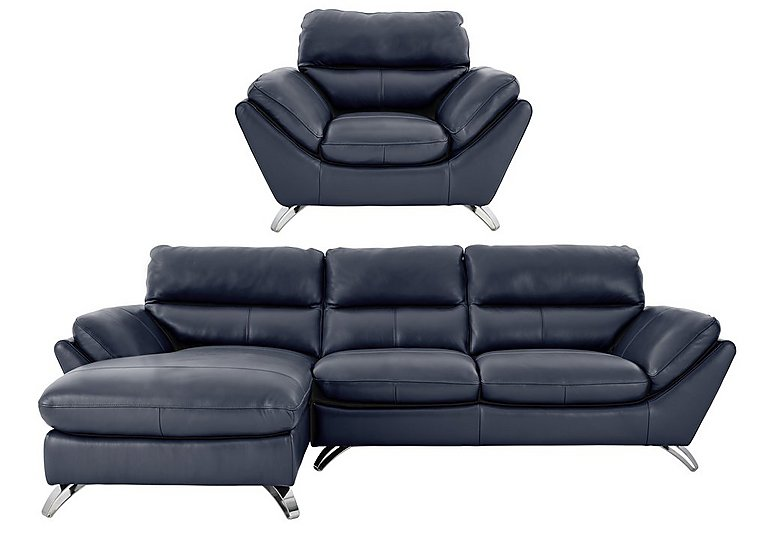 Salvador 3 Seater Left Hand Leather Chaise & Armchair in 200-37 Atlantic-Heather on FV