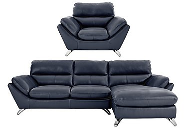 Salvador 3 Seater Right Hand Leather Chaise & Armchair in 200-37 Atlantic-Heather on FV