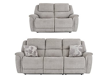 Sheridan 3 & 2 Seater Power Recliner Sofas in 5th Avenue Nickel Plain 40526 on FV