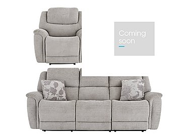 Sheridan 3 Seater Fabric Manual Recliner Sofa & 2 Armchairs in 5th Avenue Nickel Plain 40526 on FV