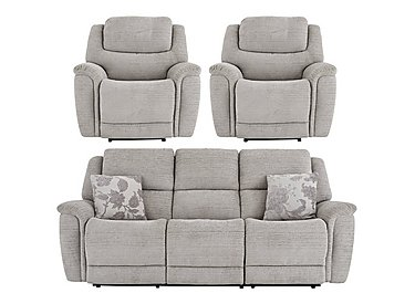 Sheridan 3 Seater Sofa & 2 Armchairs with Power Recliners in 5th Avenue Nickel Plain 40526 on FV