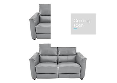 Trilogy Pair of 2 Seater Leather Power Recliner Sofas in Bv946b Silver Grey on FV