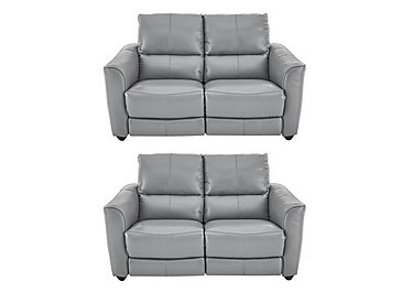 Trilogy Pair of 2 Seater Leather Power Recliner Sofas