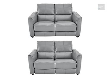 Trilogy Pair of 2 Seater Leather Power Recliner Sofas  in {$variationvalue}  on FV