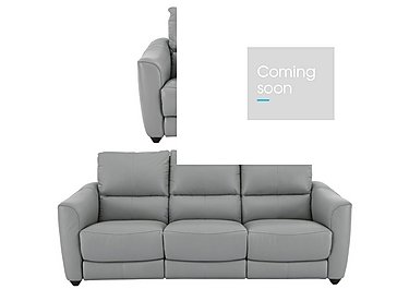 Trilogy 3 Seater Leather Power Recliner Sofa & Armchair in Bv946b Silver Grey on FV