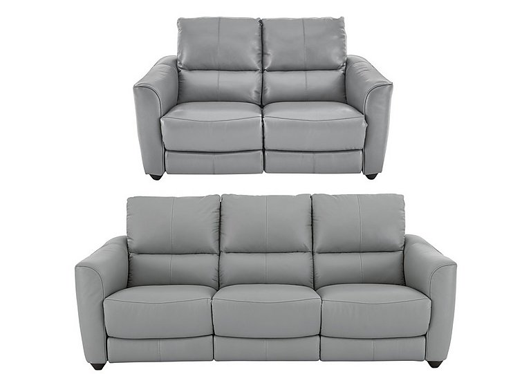Trilogy Leather 3 & 2 Seater Power Recliner Sofas in Bv946b Silver Grey on FV