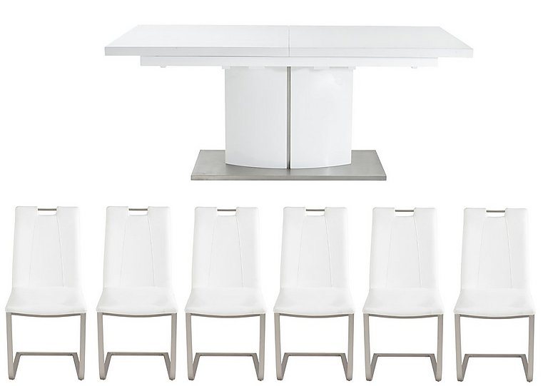 Grande White Extending Table and 6 Chairs in White on FV