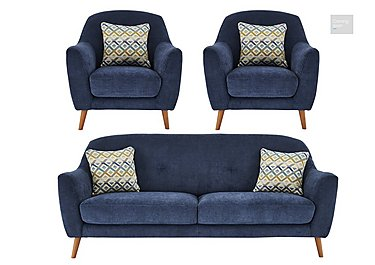 Kurve 3 Seater Fabric Sofa & 2 Armchairs  in {$variationvalue}  on FV