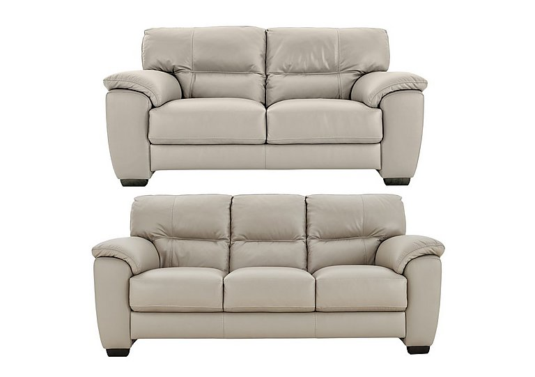 Shades 3 & 2 Seater Leather Sofas in Bv946b Silver Grey on FV