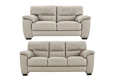 Shades 3 & 2 Seater Leather Sofas in Bv946b Silver Grey on Furniture Village