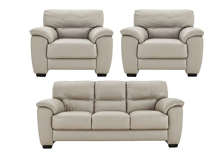 Shades Leather 3 Seater Sofa & Pair of Armchairs in Bv946b Silver Grey on FV