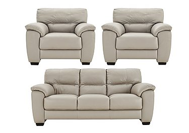 Shades Leather 3 Seater Sofa & Pair of Armchairs in Bv946b Silver Grey on Furniture Village