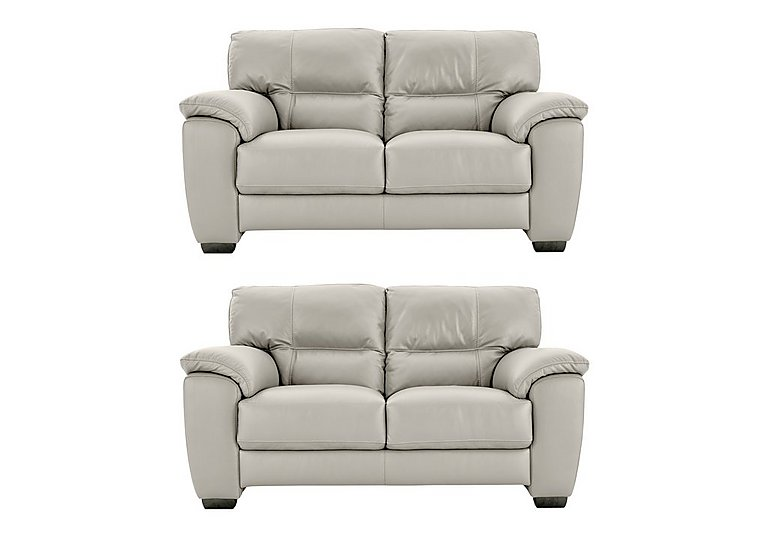 Shades Pair of 2 Seater Leather Sofas in Bv946b Silver Grey on FV