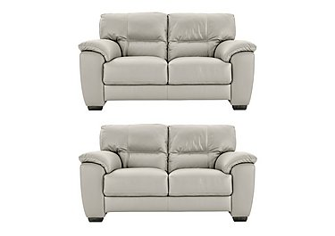 Shades Pair of 2 Seater Leather Sofas in Bv946b Silver Grey on Furniture Village