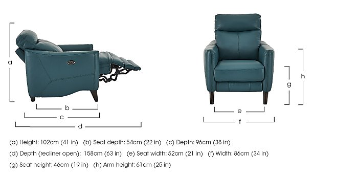 Compact Collection Petit Leather Recliner Armchair  in {$variationvalue}  on FV