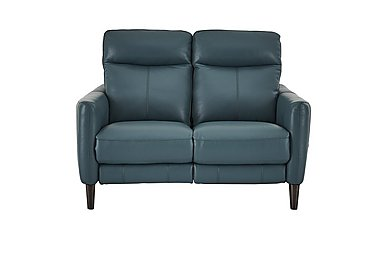 Compact Collection Petit 2 Seater Leather Recliner Sofa in Nc-301e Lake Green on FV