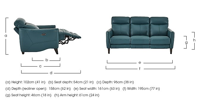 Compact Collection Petit 3 Seater Leather Recliner Sofa in  on Furniture Village