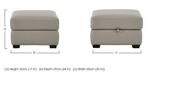 Compact Collection Petit Leather Storage Footstool in  on Furniture Village