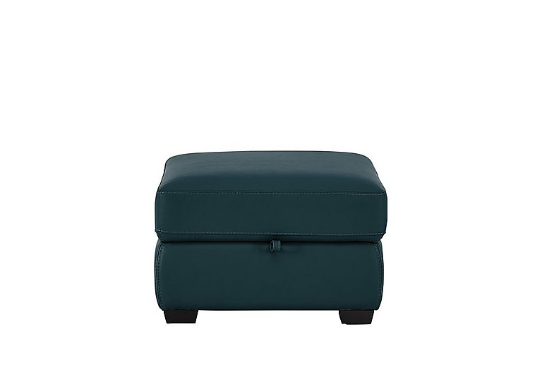 Compact Collection Petit Leather Storage Footstool in Nc-301e Lake Green on Furniture Village