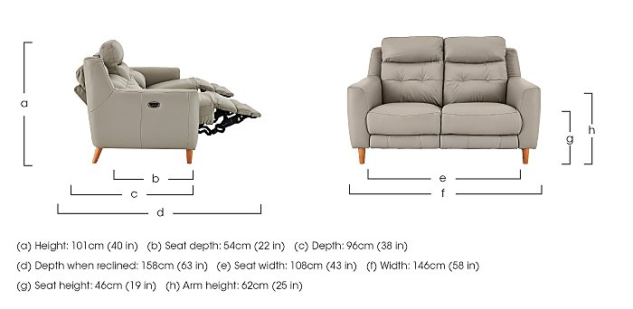 Compact Collection Bijoux 2 Seater Leather Recliner Sofa in  on Furniture Village