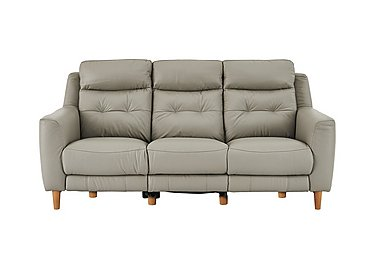 Compact Collection Bijoux 3 Seater Leather Recliner Sofa in Bv-946b Silver Grey on FV