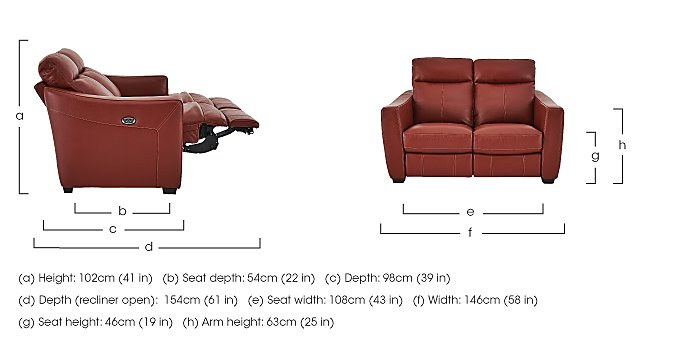 Compact Collection Midi 2 Seater Leather Recliner Sofa in  on FV