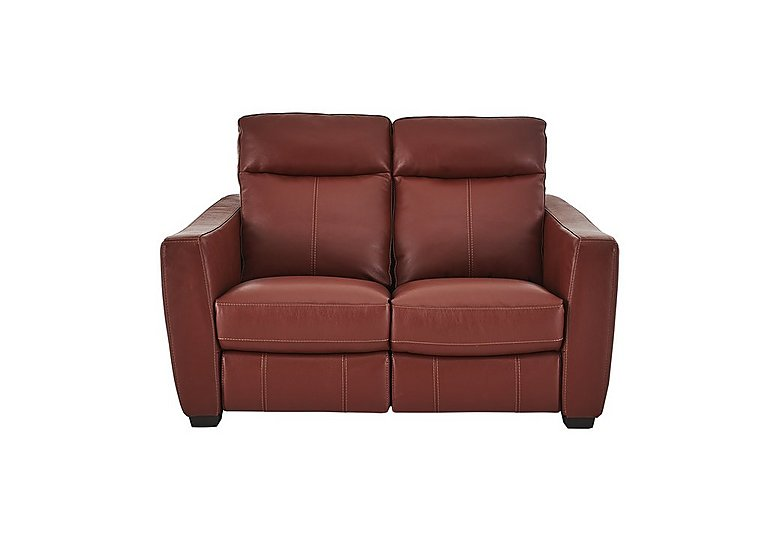 Compact Collection Midi 2 Seater Leather Recliner Sofa in Nc-854e Rustic Red on Furniture Village