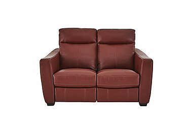 Compact Collection Midi 2 Seater Leather Recliner Sofa in Nc-854e Rustic Red on FV