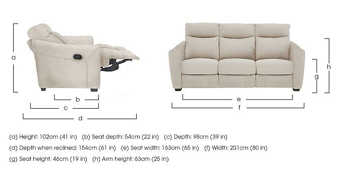 Compact Collection Midi 3 Seater Fabric Recliner Sofa in  on Furniture Village